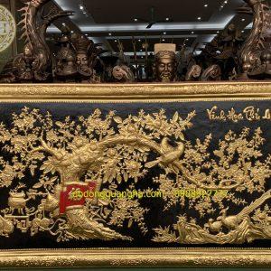 Tranh Vinh Hoa Phú Quý khung đồng dát vàng 9999