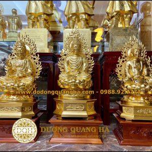 Tượng Đồng Tam Thế Phật ngồi dát vàng 9999
