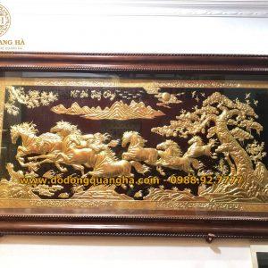 Tranh Đồng Mã Đáo Thành Công dát vàng 9999