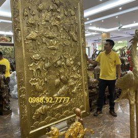 Tranh Phù Điêu Hoa Sen bằng đồng vàng