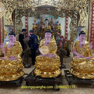 Tượng Phật Tam Thế mạ vàng 24k