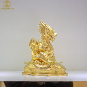 Tượng Rồng Cuộn dát vàng 9999
