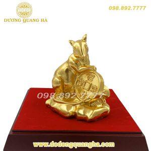 Tượng đồng Chuột ôm tiền dát vàng 9999