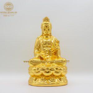Tượng đồng Phật Thế Chí Bồ Tát dát vàng 9999 cao 21cm