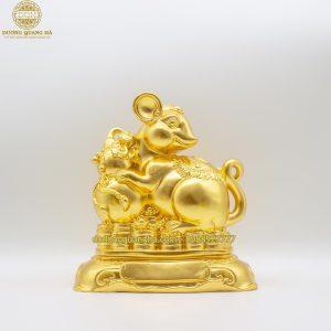 Tượng đồng Chuột ôm hồ lô dát vàng 9999 – mẫu mới năm 2020