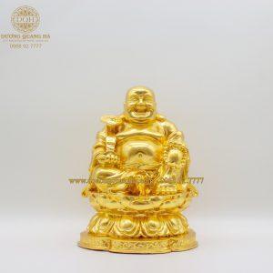 Tượng đồng Phật Di Lặc dát vàng 9999 cao 21cm