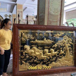 Tranh đồng Bát Mã dát vàng 9999 hàng đặt