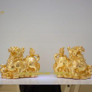 Tượng đồng Kỳ Lân dát vàng 9999