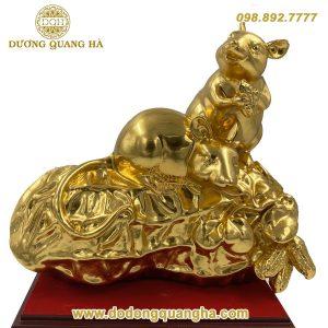 Tượng chuột bằng đồng dát vàng 9999