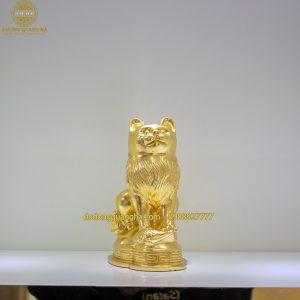 Tượng Mèo đồng dát vàng 9999