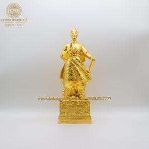 Tượng đồng Trần Quốc Tuấn dát vàng 9999 cao 38cm