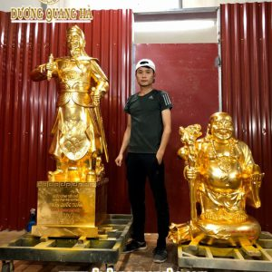Tượng đồng Trần Quốc Tuấn dát vàng 9998