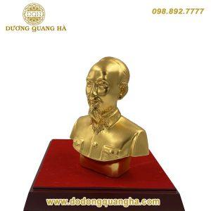 Tượng đồng Bác Hồ bán thân nhỏ dát vàng 9999