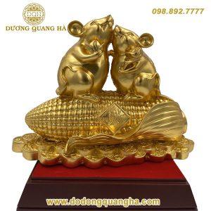 Tượng song Chuột dáng vàng 9999