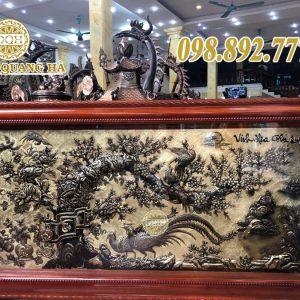 Tranh đồng Vinh Hoa Phú Quý khung gỗ