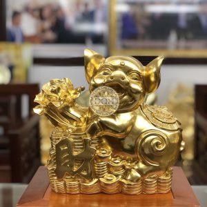 Tượng Heo bằng đồng dát vàng 9999