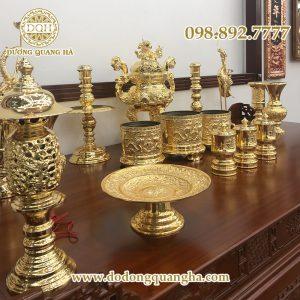 Bộ đồ thờ bằng đồng mạ vàng 24k
