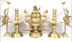 Top 5 bộ đồ thờ ngũ sự bằng đồng đẹp, sang trọng đón tết Canh Tý 2020
