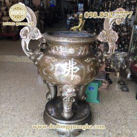 Lư Hương bằng đồng khảm bạc