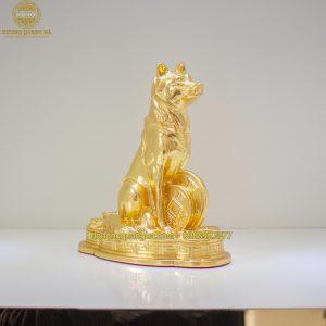 Tượng đồng Chó dát vàng 9999