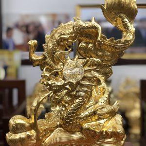 Tượng rồng bằng đồng dát vàng 9999