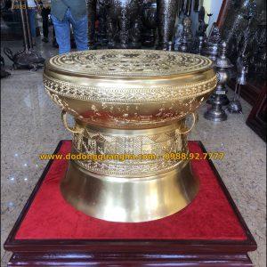 Quả trống đồng dát vàng 9999 đường kính 50cm