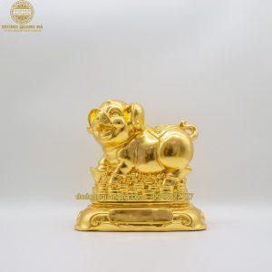 Tượng Heo đồng ôm tiền dát vàng 9999