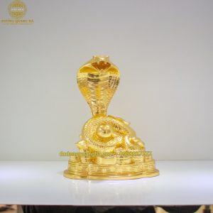 Tượng Rắn đồng dát vàng 9999