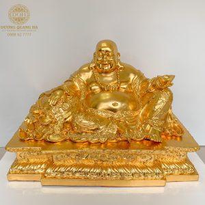 Tượng đồng Phật Di Lặc ngồi dát vàng 9999