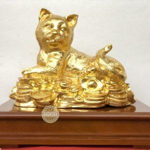 Tượng Mèo bằng đồng dát vàng 9999