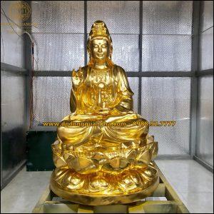 Tượng Đồng Phật Bà Quan Thế Âm Bồ Tát dát vàng 9999