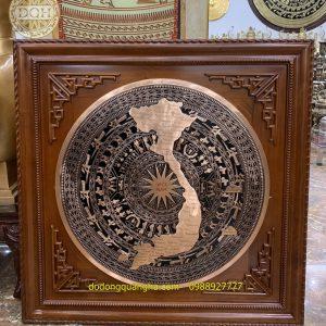 Mặt trống đồng đúc có bản đồng khung gỗ gụ