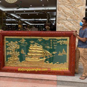 Tranh đồng Thuận Buồm Xuôi Gió mạ vàng 24k