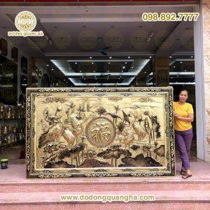 Tranh đồng chữ Phúc dát vàng 9999