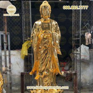 Tượng Phật A di đà cao 2m mạ vàng 24k