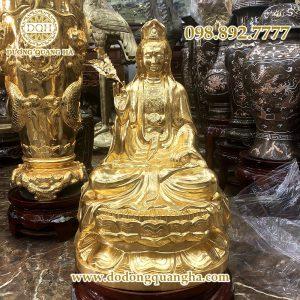 Tượng Phật Bà Quan Âm Bồ Tát dát vàng 9999