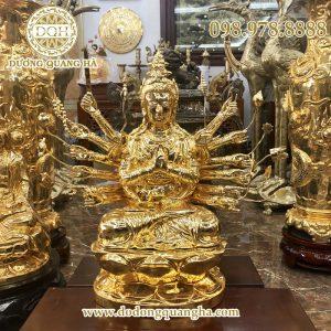 Tượng Phật chuẩn đề mạ vàng 24k