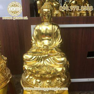 Tượng Phật A Di Đà bằng đồng dát vàng 9999