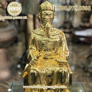 Tượng quan Trần Triều ngồi mạ vàng 50cm
