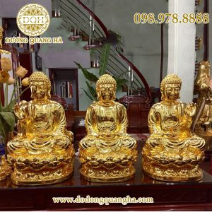Tượng Phật tam thế mạ vàng