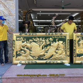 Tranh đồng Ngọc Đường Phú Quý dát vàng 9999 hàng đặt