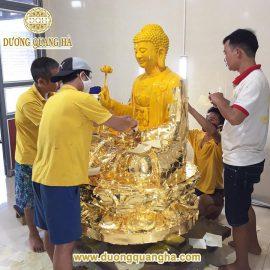 Tượng Phật A Di Đà cao 2m dát vàng 9999