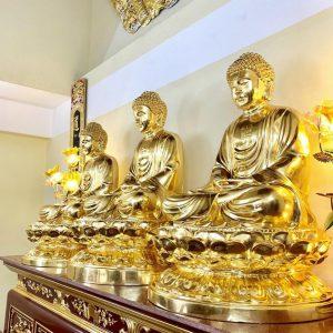 Tượng Phật Tam Thế dát vàng 9999