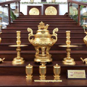 Bộ đồ thờ Ngũ Sự dát vàng 9999