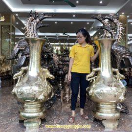 Lọ Lộc Bình đồng vàng cát tút cao cấp