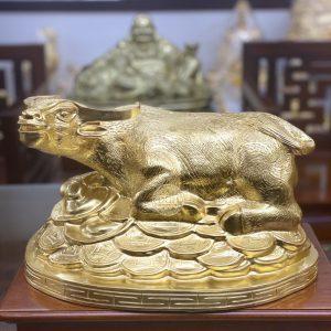 Tượng đồng Trâu dát vàng 24k – quà tặng 2021