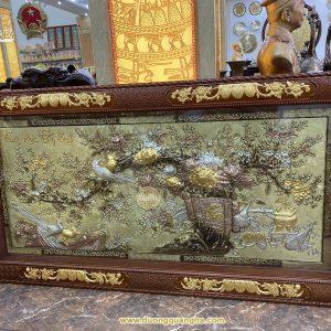 Tranh đồng Vinh Hoa Phú Quý dát vàng 24k – khung gỗ Hương
