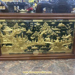 Tranh đồng Vinh Quy Bái Tổ dát vàng 24k khung gỗ gụ cao cấp